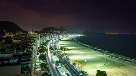 noite : Copacabana Beach street traffic at night Time Lapse