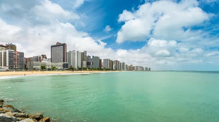 бразильский : Downtown of Fortaleza city with sky moving Time Lapse, Brazil