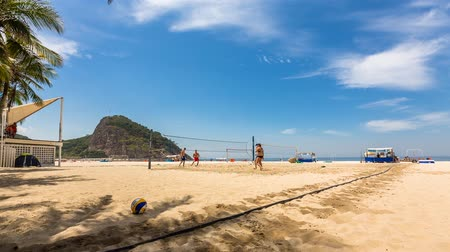 volleyball : Volleyball players on Copacabana Beach in Rio de Janeiro, Time Lapse