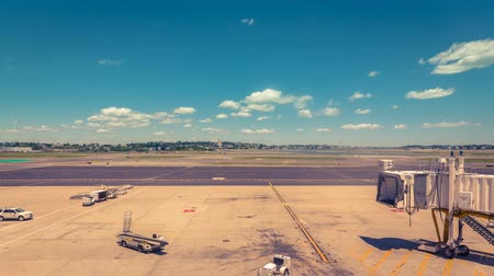 geniş açılı : Empty Gate at the airport with clouds dynamic- time lapse Stok Video