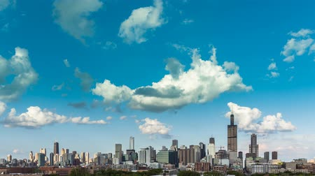 uitzicht op stad : Chicago Skyline stad Time lapse met cloud Dynamic