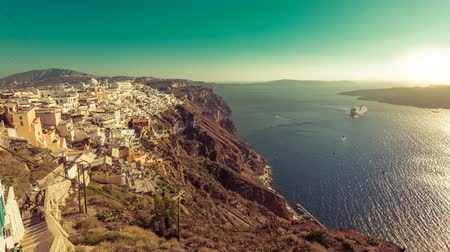 греческий : Santorini Island, Greece. Cruise ship on the Aegan Sea- vintage look