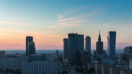 lengyelország : Warsaw Skyline Sunrise City Timelapse, Polish Capital Stock mozgókép