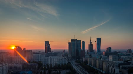 capital cities : Warsaw Skyline Sunrise City Timelapse, Polish Capital Stock Footage