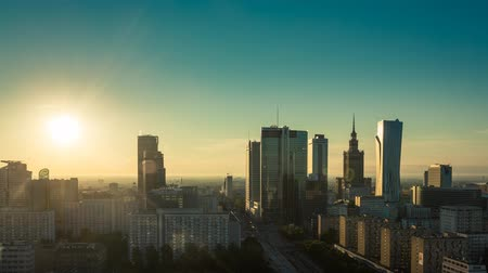 lengyelország : Sunrise above Warsaw Financial District, Poland Stock mozgókép