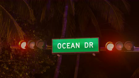 sul : CU Time Lapse of Ocean Drive street sign at night in South Beach, Miami Vídeos