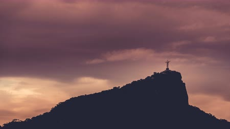 brezilya : Corcovado Hill and Christ with clouds dynamic in Rio de Janeiro,Brazil. Time lapse shot at dusk