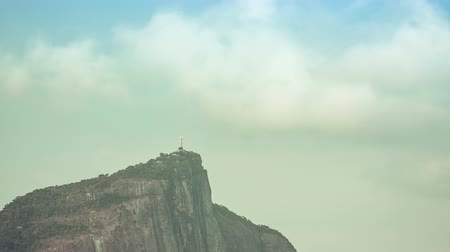 brezilya : Time lapse zoom shot of Corcovado Hill and Christ with clouds dynamic in Rio de Janeiro,Brazil