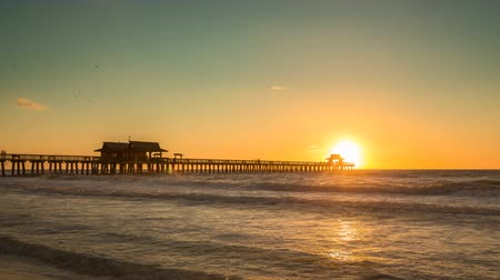 nápoles : Sunset over horizon and wooden pier of caribbean beach of Naples in Florida. Panning and zoom in Time Lapse Vídeos