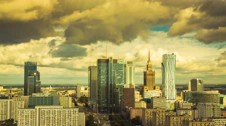 warszawa : Warsaw Skyline City Timelapse with cloud Dynamic in 4k Polish Capital