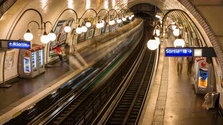 french metro : Time lapse of busy metro station with people walking Paris.