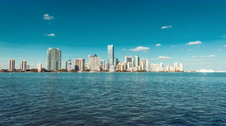gün : Miami Downtown Skyline Florida. Time lapse. Stok Video