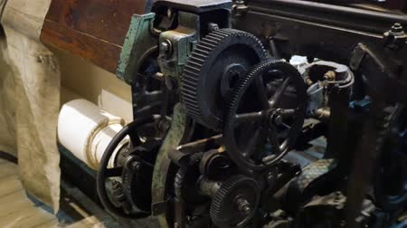 row : Old machine closeup in the yarn factory Stock Footage