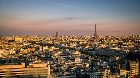 time journey : Aerial view of the City of Paris during sunset with the Eiffel Tower