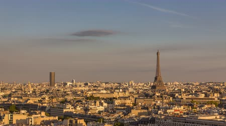 time journey : Skyline Aerial view of Paris with the Eiffel Tower, Time Lapse