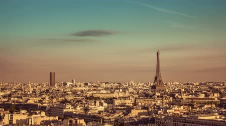 башни : Aerial view of Paris with the Eiffel Tower, Time Lapse with vintage colors