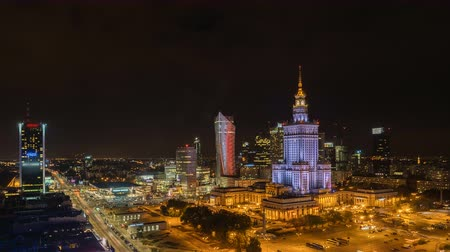 warszawa : Warsaw Skyline Night City Timelapse, Poland
