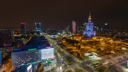 urban skyline : Warsaw Skyline Night City Timelapse wide angle, Poland