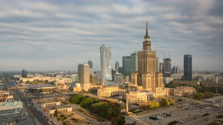 warszawa : Warsaw Downtown in the morning - Timelapse, Polish Capital.
