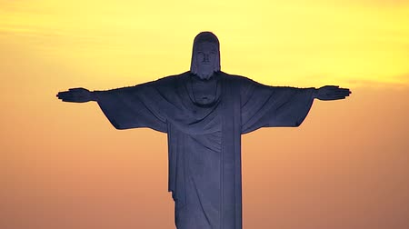brezilya : Close up Aerial view of Christ the Redemeer Statue with Sunset Sky, Rio de Janeiro, Brazil.