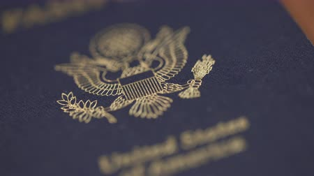 visa : Dolly Shot of United States Passport, Shallow DOF