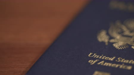 immigratie : Dolly shot van de Verenigde Staten Passport, Shallow DOF