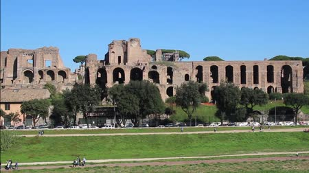 palatine : Circus Maximus and ruins of Palatine hill, in Rome, Italy Stock Footage