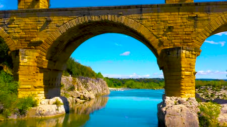 Pont du Gard, famous touristic site in France Стоковые видеозаписи