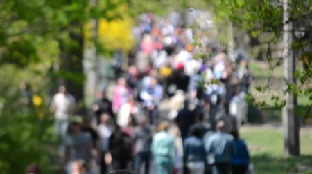 unrecognizable people : Many people, the crowd, the traffic walking along the road in the park in spring with trees and green leaves on a sunny day. blurred background Stock Footage