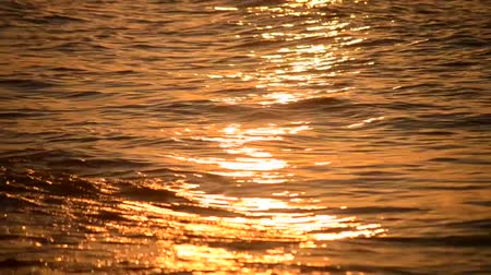 depressant : Very nice sunrise and sunset the sun is reflected in the waves of the sea, the solar path Stock Footage