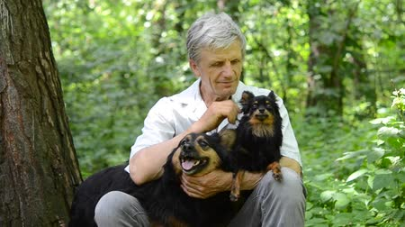 cidadão idoso : gray-haired man petting his dogs