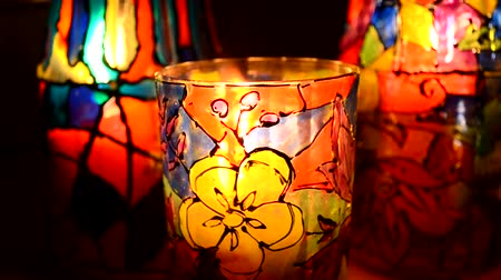 variegado : glasses painted stained glass paints, candle inside