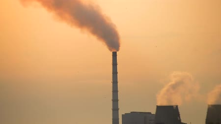 дымоход : factory chimney with smoke closeup