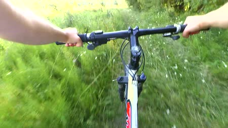 управлять : Man riding bicycle in a field on a green grass sunny day summer. Hands and helm. Concept activity, health, sports, relax vacation travel.