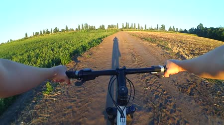 kormányoz : A girl rides bicycle on the ground in a summer field during sunset sunrise. POV. Long shadow before the rider. Hands and helm. Stock mozgókép