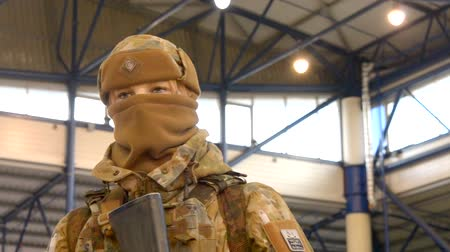 enlisted : Kiev, Ukraine October 11, 2017: - Mannequin dressed various body armor and protective helmets. Example military uniform outfit. Stock Footage