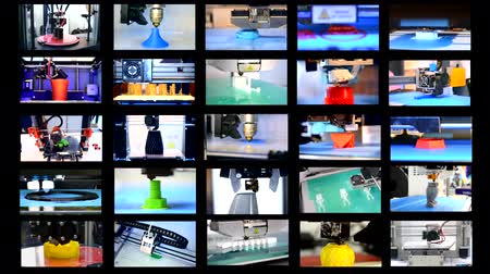 impressão digital : 25 in 1. Many objects printed by 3d printer. Fused deposition modeling, FDM. Progressive modern additive technology. Concept 4.0. Multicam split screen group video wall collage montage composite.