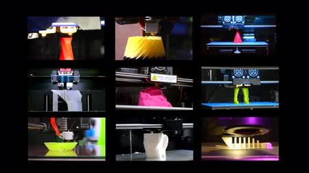 impressão digital : 9 in 1! Many objects printed by 3d printer. Fused deposition modeling, FDM. Progressive modern additive technology. Concept 4.0. Multicam split screen group video wall collage montage composite. Stock Footage