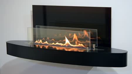 oxidation : Modern bio fireplot fireplace on ethanol gas. Smart ecological alternative technologies. Contemporary biofuel on ethanol close-up. Energy saving innovation. Interior inside a house Stock Footage