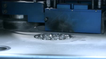 titanium : Raising up printing platform with object printed on 3d printer for metal in the working chamber. 3D printer printing metal. Laser sintering machine for metal Progressive DMLS, SLM, SLS technology Stock Footage