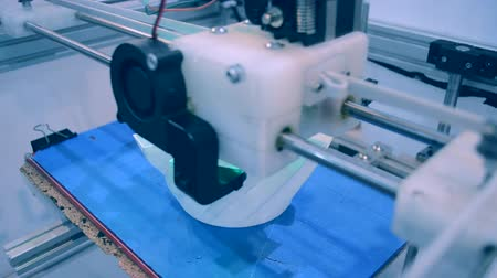 built : 3D printer working close up. Automatic three dimensional 3d printer performs plastic. Modern 3D printer printing an object from the hot molten. Concept progressive additive technology for 3d printing.