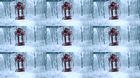 wood glade : Man holding red candle lantern in winter forest. Snow forest snowfall. Christmas Winter New Year trembling Scenery. Concept. Cinemagraph seamless loop animation motion gif render background Stock Footage