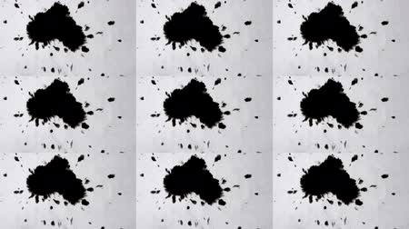inkblot : Abstract animation wall. Multicam group video montage. Black ink abstract stains flow on a white surface. Black ink spot spreads black ink spot spreads on background isolated close-up