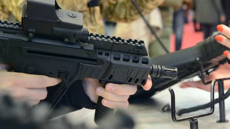 destroyer : Firearms gun submachine sniper rifle large-caliber weapons close-up.