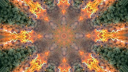 seqüência : Abstract kaleidoscope motion background. Sequence multicolored graphics ornaments patterns. Seamless loop. Bright impulsively luminous fire flame light backdrop, gray stones