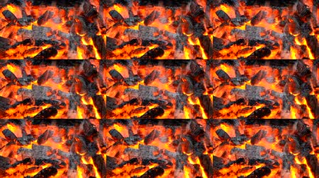 kövület : Burning up the black and red embers fire flame close up. Multicam split screen group montage background. Abstract animation wall. Stock mozgókép