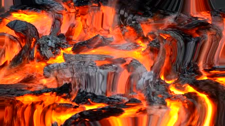 smolder : burned-out embers gray burn in the fire close-up top. Reflection in water, underwater water ripples surrealism abstract waves Stock Footage