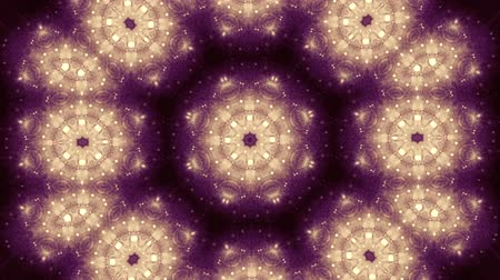 dairesel : Abstract kaleidoscope motion background. Sequence multicolored graphics ornaments patterns. Yellow brown orange black color. Seamless loop. Light coloured backdrop. Bright luminous Stok Video