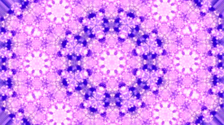 abstract animated : Abstract kaleidoscope motion background. Sequence multicolored graphics ornaments patterns. Purple white, Christmas New Year lace motifs sequins, falling snow. Seamless loop. Winter Light backdrop.