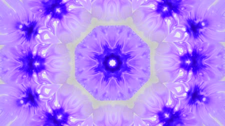 surrealismo : Abstract animated kaleidoscope motion background. Spreading Purple Ink Drops on White Wet Smooth Surface. Sequence graphics ornaments patterns. Abstract Close-up Shot.